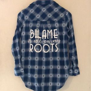 """Tops - Vintage Flannel - """"Blame it all on my Roots"""""""